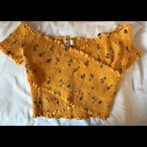 Hollister Yellow Smocked Crop Top